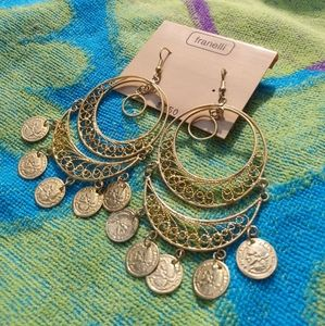 Vintage 90s Gold Coin Earrings